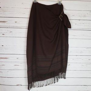 Ralph Lauren Wool Wrap Skirt w/Fringe Detail Sz 16